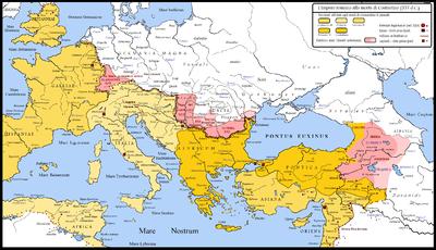 Le frontiere romane settentrionali e orientali al tempo di Costantino, con i territori acquisiti nel corso del trentennio di campagne militari (dal 306 al 337). La mappa qui sopra rappresenta anche il mondo romano poco dopo la morte di Costantino (337), con i territori
