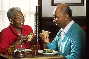 Food choice of older adults - Elderly couple eating lunch together
