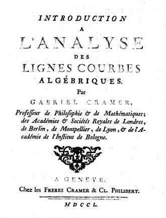 Gabriel Cramer - Introduction à l'analyse des lignes courbes algébriques, 1750