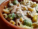 roasted Brussels sprouts and pasta