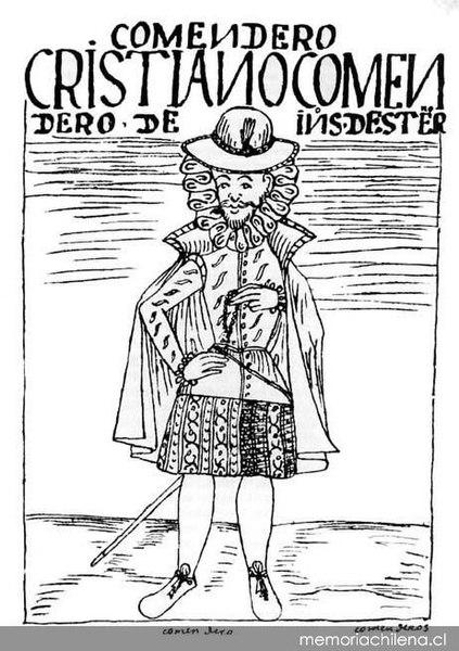 Cristiano encomendero de indios de este Reyno, hacia 1600 Según dibujo de Felipe Guamán Poma de Ayala.