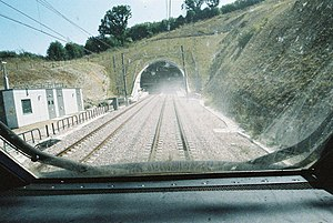North Downs Tunnel - North portal, dust whipped up by a test train before opening in 2003