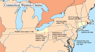 A map showing Connecticut's western land claims.