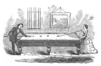 Cue stick - Man playing billiards with cue and woman with mace, from an illustration in Michael Phelan's 1859 book, The Game of Billiards