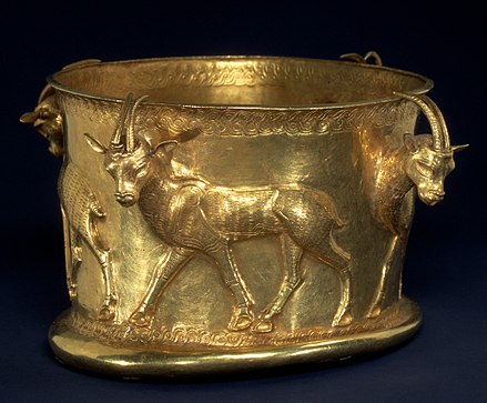 Iron Age gold cup from Marlik, kept at the Metropolitan Museum of Art, New York City. Cup with a frieze of gazelles MET an62.84.R.jpg