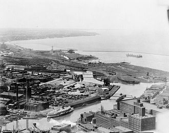 Cuyahoga River - The river's mouth at Lake Erie in Cleveland, circa 1920
