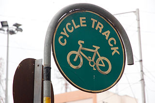 A board indicating a Cycle Track in Pune.