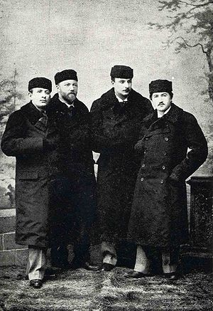 Hanuš Wihan - Members of the Czech String Quartet; the members, from left to right, are Karel Hoffmann, Hanuš Wihan, Oskar Nedbal and Josef Suk.