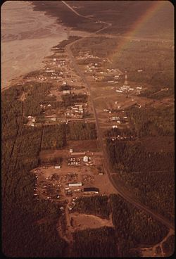 Aerial view showing Delta Junction and neighboring Big Delta, as it appeared in 1973.
