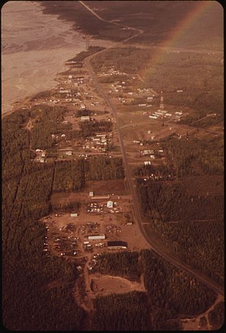 Delta Junction, Alaska - Aerial view showing Delta Junction and neighboring Big Delta, as it appeared in 1973.