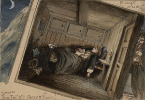 Frances Elizabeth Wynne - A self-portrait depicting a ferry crossing between Ostend and Dover, 25 Aug 1858