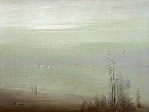 Leon Dabo - Evening on the Hudson (1909), oil on canvas. This painting won a prize from the National Arts Club.