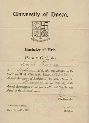 University of Dhaka - Earliest Bachelor of Arts certificate from the University, 1928