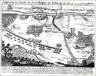 """Battle of Warsaw (1656) - """"Battle of Warsaw on the third day"""", a contemporary map"""