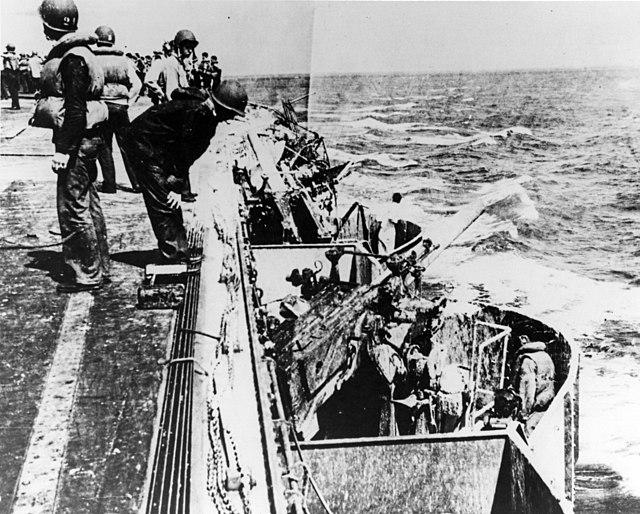 Damaged port forward gun gallery aboard USS Lexington (CV-2) on 8 May 1942 (80-G-16807)