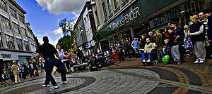 Street performance - Dancers in Sutton High Street, Sutton, London, England