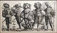 Daniel hopfer, cinque soldati tedeschi, 1526-36, acquaforte.jpg