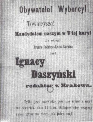 Ignacy Daszyński - Daszyński's 1897 election leaflet.