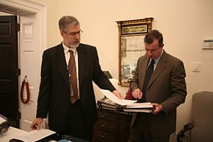 Counselor to the President - Counselor to the President Ed Gillespie (right) and Chief of Staff to the Vice President David Addington review a document, December 5, 2007.