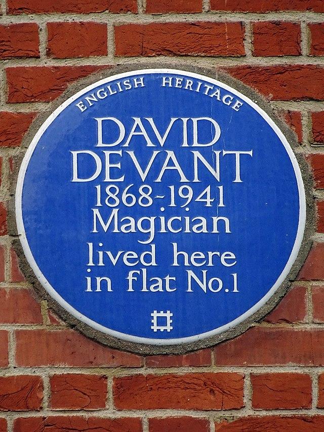 David Devant blue plaque - David Devant 1868-1941 magician lived here in flat no.1