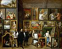 David Teniers II - Archduke Leopold Wilhelm and the artist in the archducal picture gallery in Brussels (1653).jpg