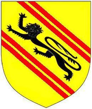 Feudal barony of Barnstaple - Arms of de Tracy: Or, a lion passant sable between two bends gemelles gules