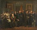 De aanvaarding van het Hoog Bewind door het Driemanschap in naam van de prins van Oranje, 21 november 1813 Rijksmuseum SK-A-1558.jpeg