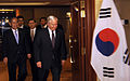 Defense.gov News Photo 100604-F-6655M-013 - Secretary of Defense Robert M. Gates walks with Korean Minister of Defense Kim Tae Young prior to a bi-lateral meeting at the 9th International.jpg