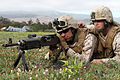 Defense.gov News Photo 110712-M-EE799-164 - Lance Cpl. Kevin A. Kohl left and Cpl. Daniel T. Conroy provide security at Marine Medium Helicopter Squadron 268 s forward arming and refueling.jpg