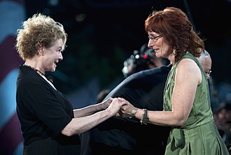 Dianne Wiest - Wiest (left) greets Marine-mother Leesa Phillipon at 2011 National Memorial Day Concert, Washington, DC, 2011