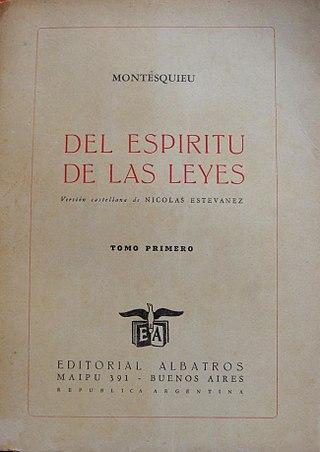 Del Espiritu de las Leyes, Montesquieu, 1748, edição de Buenos Aires, 1942.jpg
