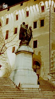 Memorial of Joseph and Xavier de Maistre in front of the Castle of Chambery