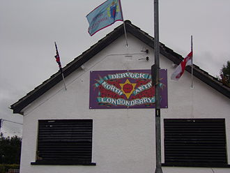 Ulster Defence Association - A wall sign in Dervock showing support for the North Antrim and Londonderry brigade.