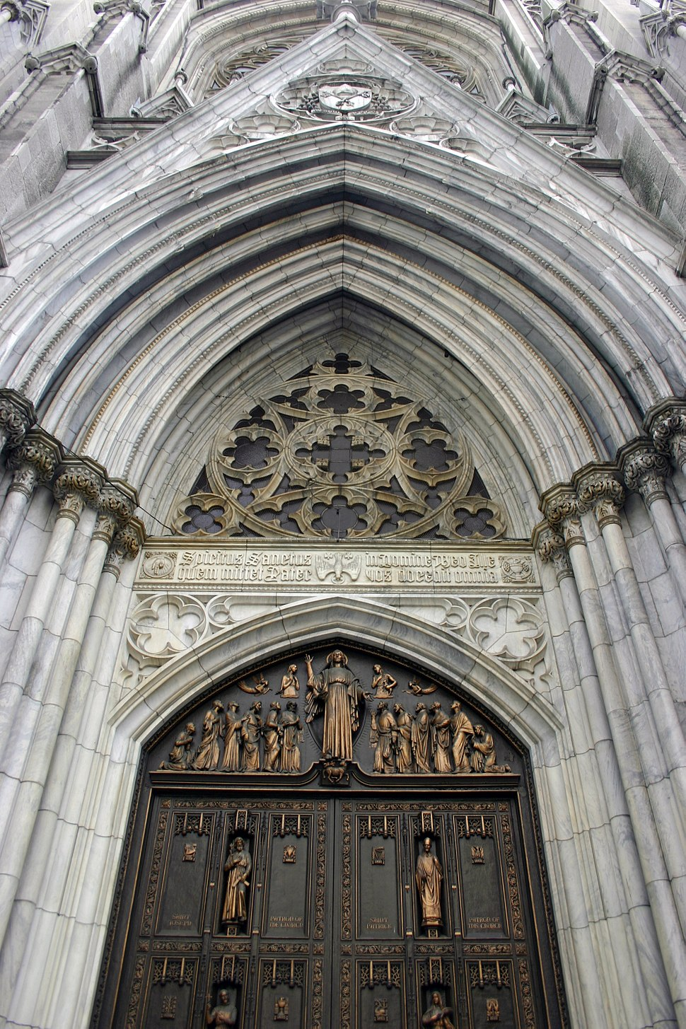 Detail of the facade of St Patrick's Cathedral in New York City