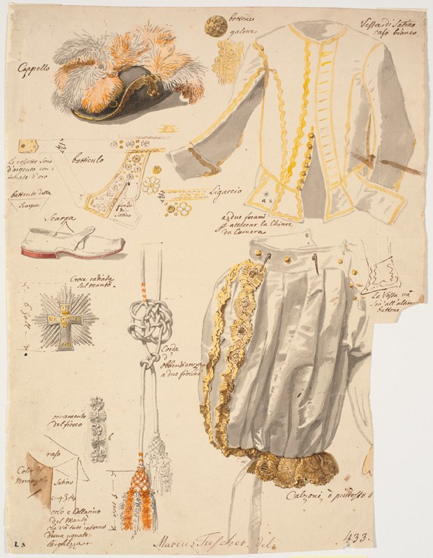 Details of the costume of the Knights of the Dannebrog ca 1750 by Marcus Tuscher