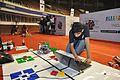 Deva Prasanna Preparing His Robot - Indian National Championship - WRO - Kolkata 2016-10-22 8306.JPG