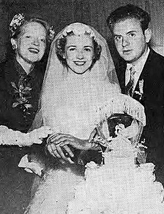 Dick Van Patten - Peggy Wood, who played Van Patten's mother in the television program Mama, congratulates Pat and Dick on their wedding, 1954.
