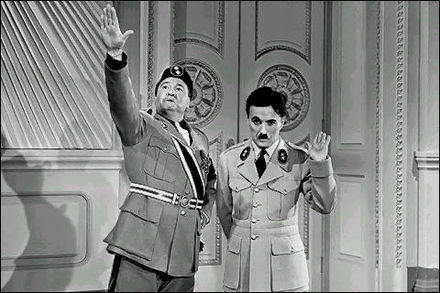 Benzino Napaloni and Adenoid Hynkel in The Great Dictator (1940). Chaplin later declared that he would have not made the film if he had known about the concentration camps. Dictator charlie6.jpg