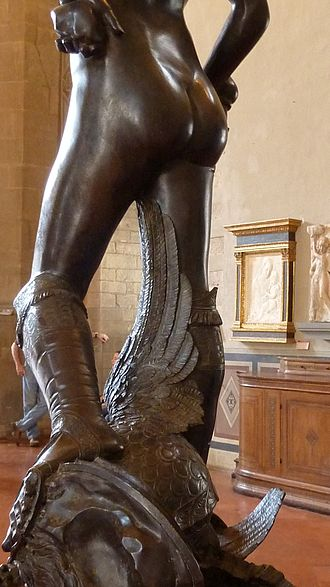 David (Donatello) - Back view of the legs of the David in the Museo Nazionale del Bargello, Florence.