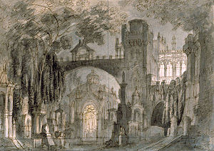 Lucia di Lammermoor - Set design for act 3, scene 3 by Francesco Bagnara, circa 1844 (Civica Raccolta Stampe Bertarelli Milan)