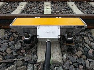 Punktförmige Zugbeeinflussung - modern style inductor on a rail