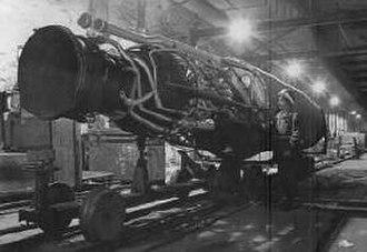 Mittelwerk - US soldier and captured Mittelwerk V-2 rocket motor