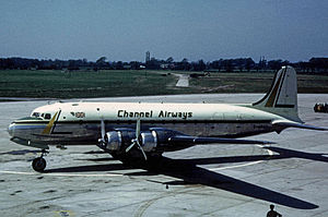 Channel Airways - Channel Airways 88-seat Douglas DC-4 operating an IT flight From Manchester to Ostend in 1963