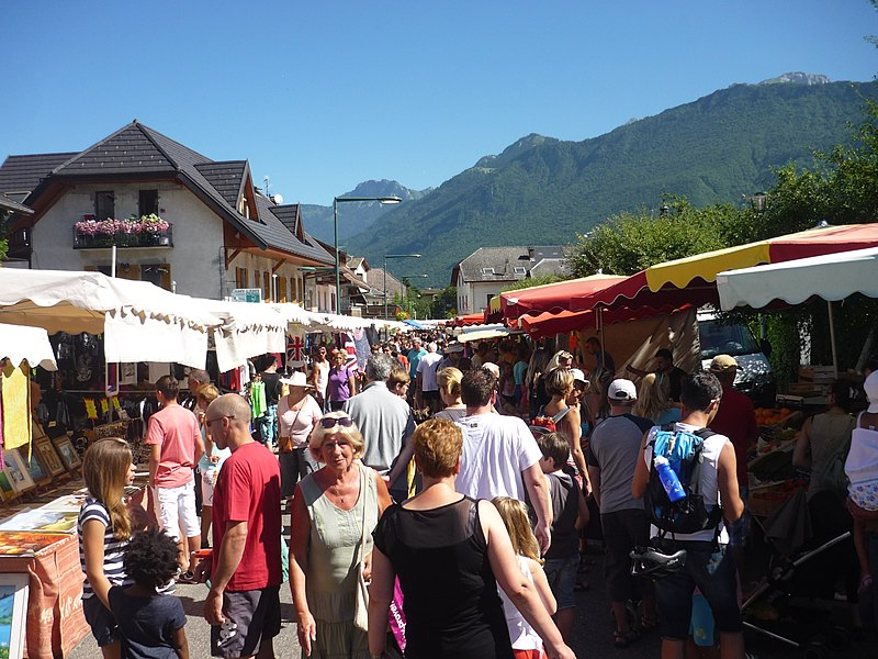 Outdoor market at Doussard, Haute-Savoie, France