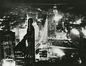 1956 Democratic National Convention - Chicago skyline on the night of August 11, 1956 (two days before the opening session of the convention)