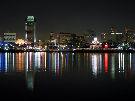View of downtown from the Queen Mary at night Downtown Long Beach.jpg