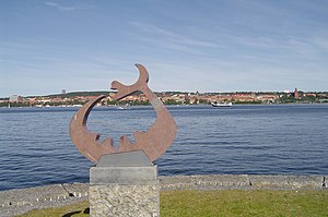 Östersund - Storsjöodjuret (the Great lake monster) is a cryptid said to inhabit lake Storsjön. This figure has often been used as a symbol for Östersund, along with the moose (see above). The city core is seen in the background.
