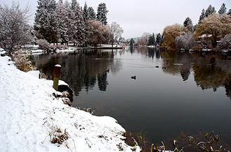 Bend, Oregon - Mirror Pond from Drake Park during the winter