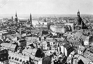 Bombing of Dresden in World War II - A view from the town hall over the Altstadt (old town), 1910