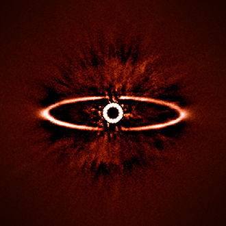 Spectro-Polarimetric High-Contrast Exoplanet Research - This infrared image shows the dust ring around the nearby star HR 4796A in the southern constellation of Centaurus. It was one of the first produced by the SPHERE instrument soon after it was installed on ESO's Very Large Telescope in May 2014. It shows not only the ring itself with great clarity, but also reveals the power of SPHERE to reduce the glare from the very bright star — the key to finding and studying exoplanets in future.